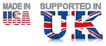 Made in USA, sold and supported in UK.