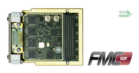 FMC-SDF Data Acquisition board with four AD7763 625kSPS ADCs and two LTC2758 476kSPS DACs on FMC