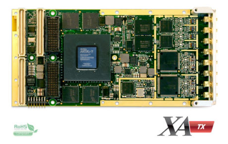 Eight 300MSPS 16 bit Dacs, Xilinx Artix-7 FPGA, DDR3 memory and 4 lanes Gen2 PCIe